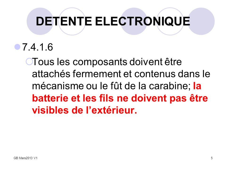 5 DETENTE ELECTRONIQUE 7.4.1.6 Tous les composants doivent être attachés fermement et contenus dans le mécanisme ou le fût de la carabine; la batterie