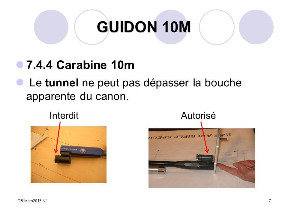 7 GUIDON 10M 7.4.4 Carabine 10m Le tunnel ne peut pas dépasser la bouche apparente du canon. GB Mars2013 V1 InterditAutorisé