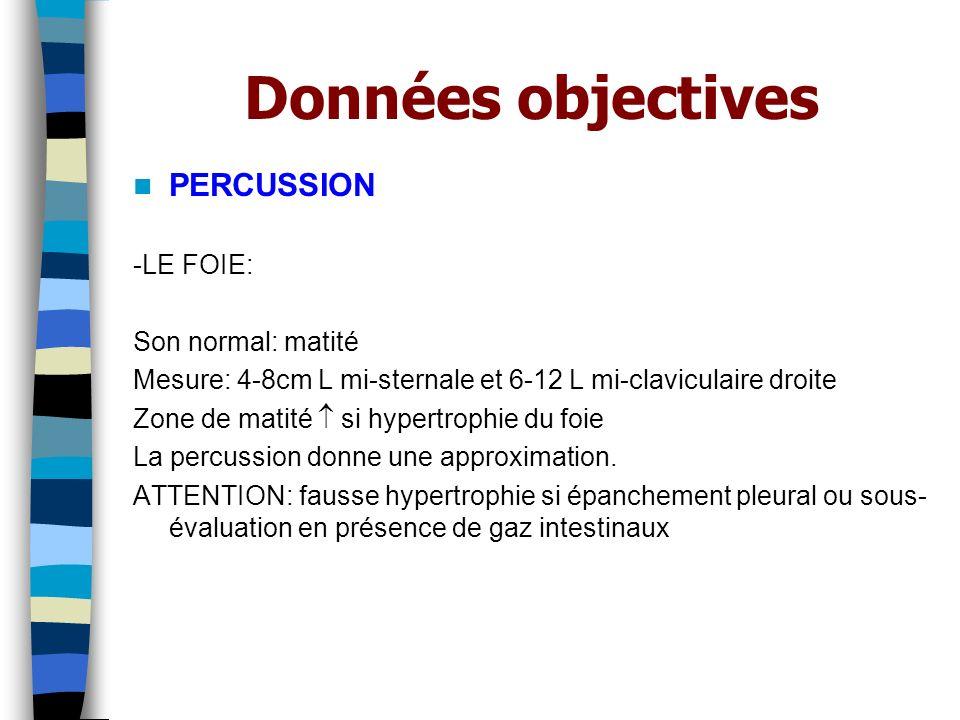 Données objectives PERCUSSION -LE FOIE: Son normal: matité Mesure: 4-8cm L mi-sternale et 6-12 L mi-claviculaire droite Zone de matité si hypertrophie