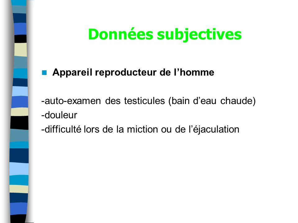 Données subjectives Appareil reproducteur de lhomme -auto-examen des testicules (bain deau chaude) -douleur -difficulté lors de la miction ou de léjac