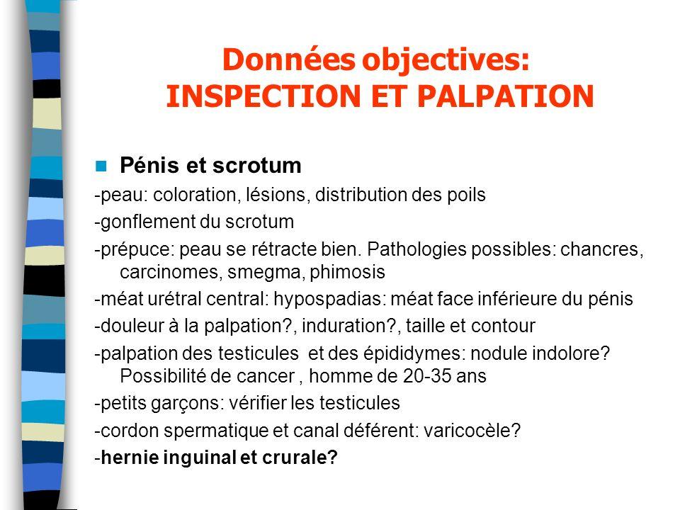 Données objectives: INSPECTION ET PALPATION Pénis et scrotum -peau: coloration, lésions, distribution des poils -gonflement du scrotum -prépuce: peau