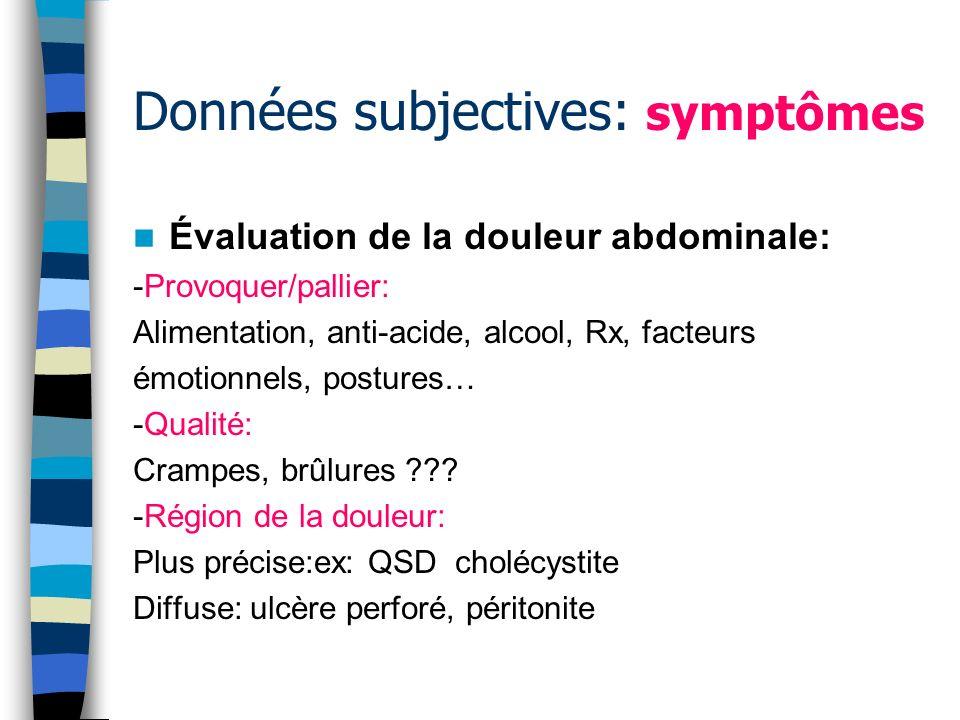 Données subjectives: symptômes Évaluation de la douleur abdominale: -Sévérité de la douleur: Modérée: processus inflammatoire Aigue: perforation dun organe creux, obstruction intestinale, torsion dun kyste.