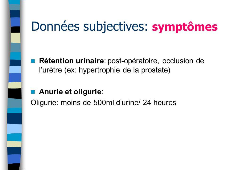Données subjectives: symptômes Rétention urinaire: post-opératoire, occlusion de lurètre (ex: hypertrophie de la prostate) Anurie et oligurie: Oliguri