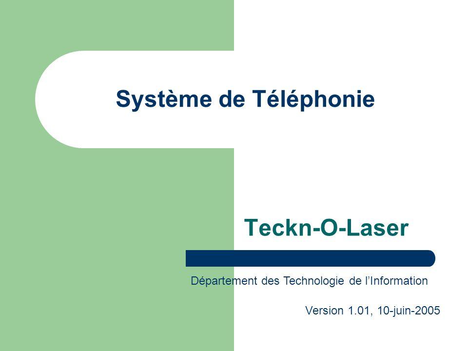 Système de Téléphonie Teckn-O-Laser Département des Technologie de lInformation Version 1.01, 10-juin-2005