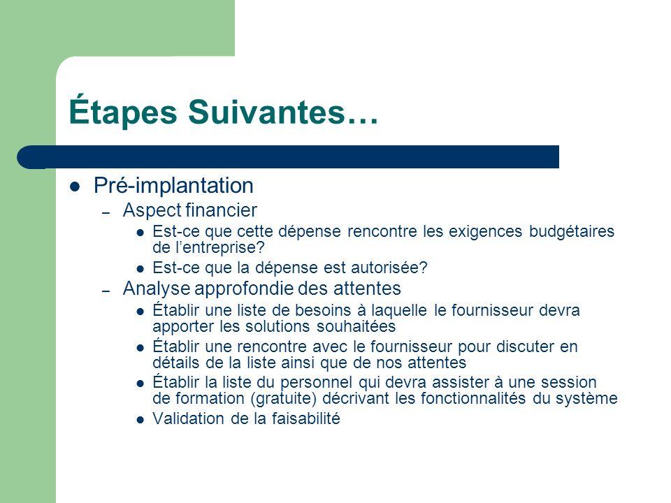 Étapes Suivantes… Pré-implantation – Aspect financier Est-ce que cette dépense rencontre les exigences budgétaires de lentreprise.