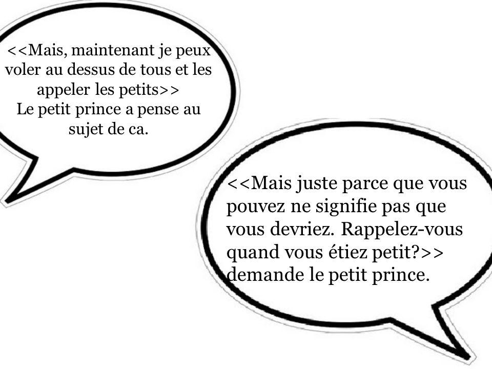 > Le petit prince a pense au sujet de ca. > demande le petit prince.