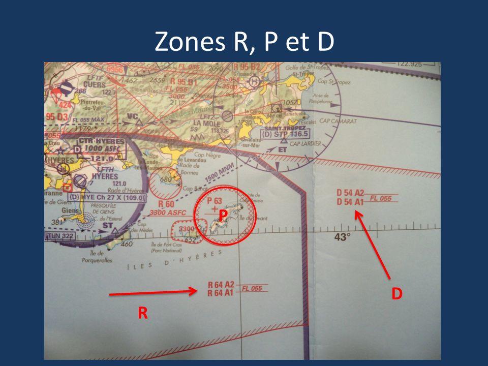 Zones R, P et D R P D