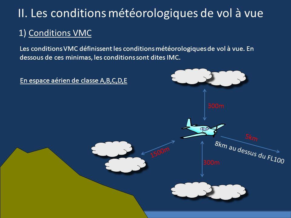 II. Les conditions météorologiques de vol à vue 1) Conditions VMC Les conditions VMC définissent les conditions météorologiques de vol à vue. En desso