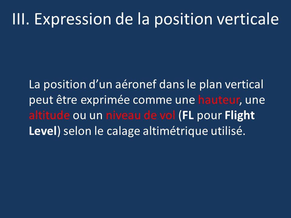 III. Expression de la position verticale La position dun aéronef dans le plan vertical peut être exprimée comme une hauteur, une altitude ou un niveau