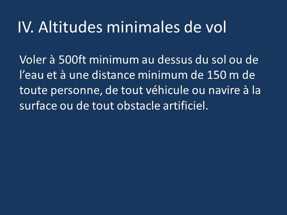 IV. Altitudes minimales de vol Voler à 500ft minimum au dessus du sol ou de leau et à une distance minimum de 150 m de toute personne, de tout véhicul