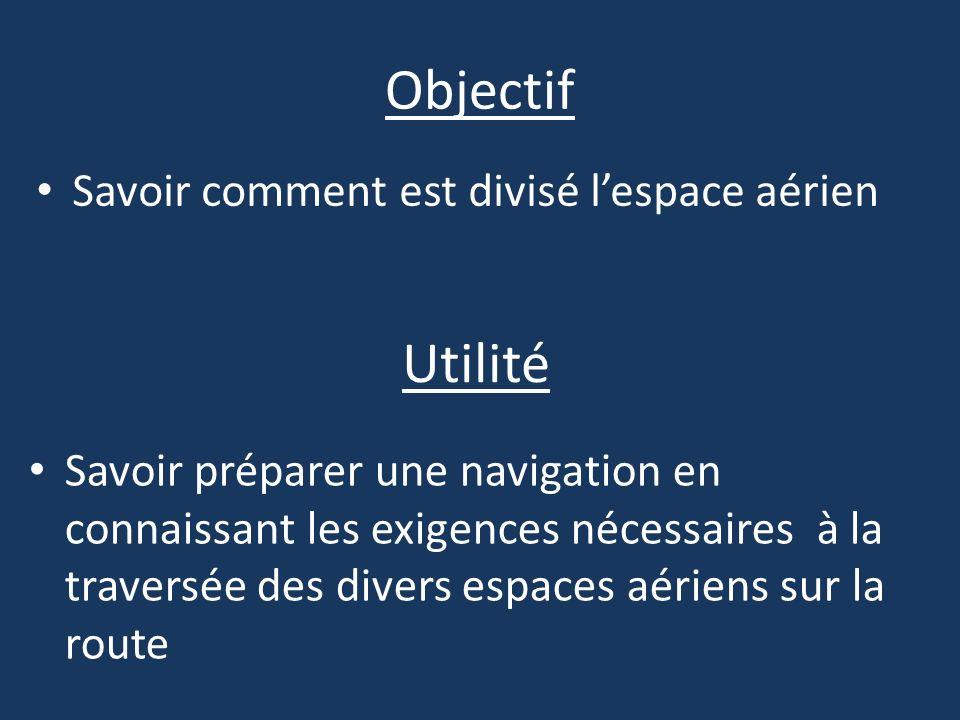 Objectif Savoir comment est divisé lespace aérien Utilité Savoir préparer une navigation en connaissant les exigences nécessaires à la traversée des d