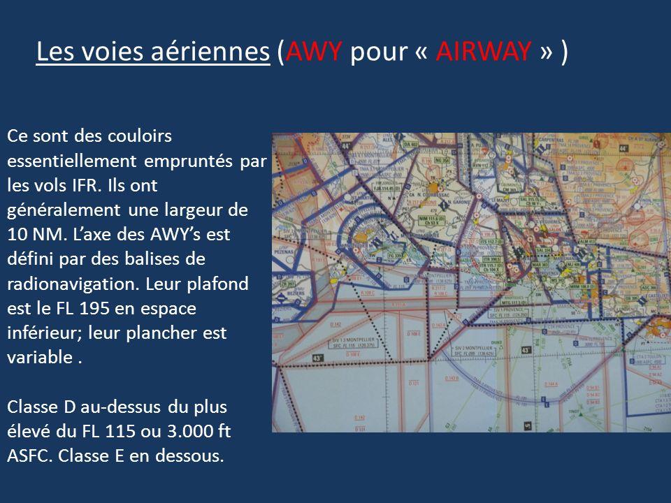 Les voies aériennes (AWY pour « AIRWAY » ) Ce sont des couloirs essentiellement empruntés par les vols IFR. Ils ont généralement une largeur de 10 NM.