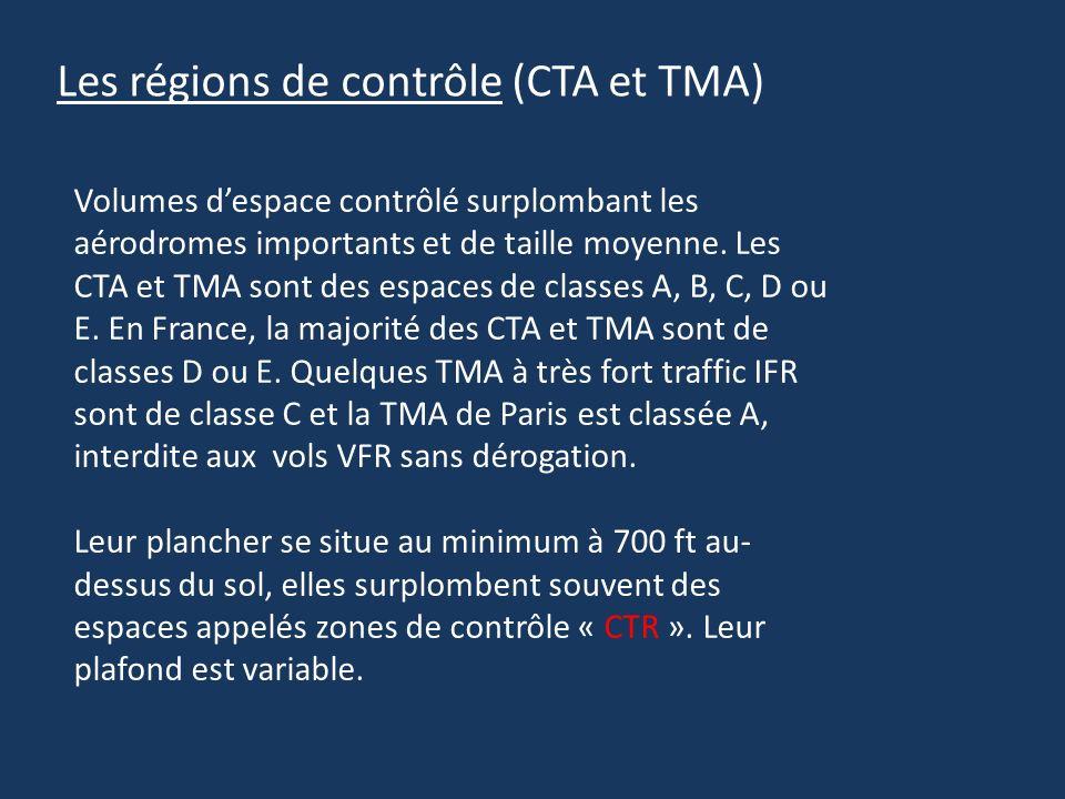 Les régions de contrôle (CTA et TMA) Volumes despace contrôlé surplombant les aérodromes importants et de taille moyenne. Les CTA et TMA sont des espa