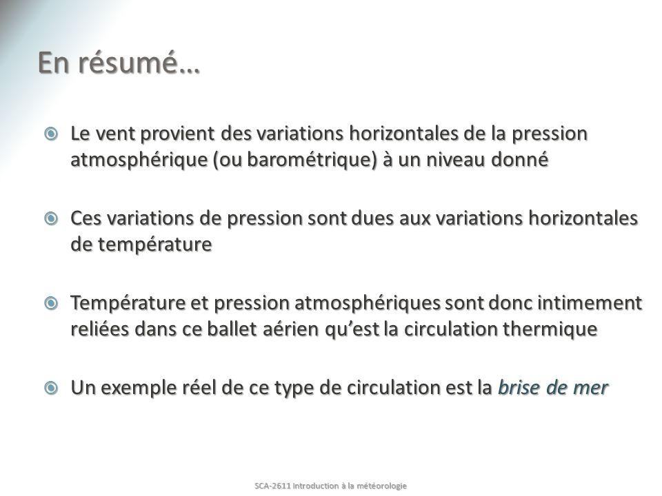 En résumé… Le vent provient des variations horizontales de la pression atmosphérique (ou barométrique) à un niveau donné Le vent provient des variatio