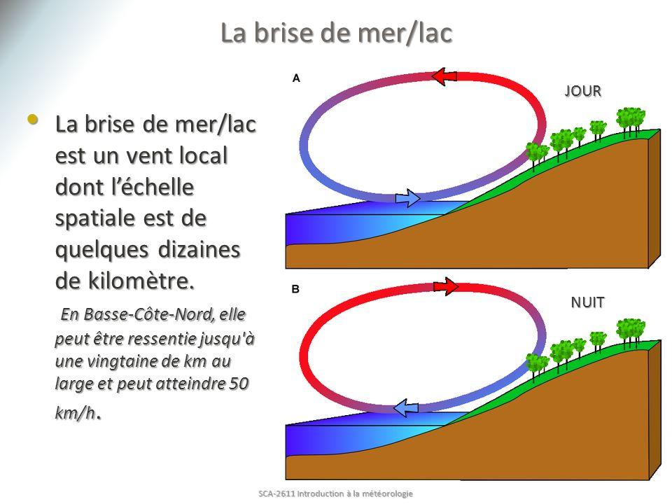 La brise de mer/lac est un vent local dont léchelle spatiale est de quelques dizaines de kilomètre. En Basse-Côte-Nord, elle peut être ressentie jusqu