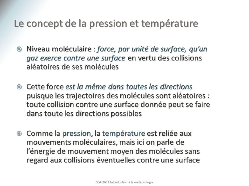 Discussion SCA-2611 Introduction à la météorologie Observatoire : page 224 Texte correct Attention à la légende de la figure 7.3 : «Plus y a des particules dair, plus la pression est grande, car plus il y a des collisions entre les particules.» densité masse Nombre de moles Masse molaire de lair Volume Température Constante spécifique de lair pression