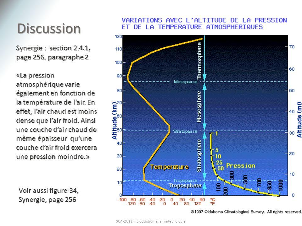 Discussion SCA-2611 Introduction à la météorologie Synergie : section 2.4.1, page 256, paragraphe 2 «La pression atmosphérique varie également en fonc