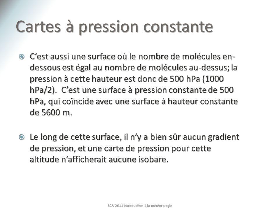 Cartes à pression constante Cest aussi une surface où le nombre de molécules en- dessous est égal au nombre de molécules au-dessus; la pression à cett