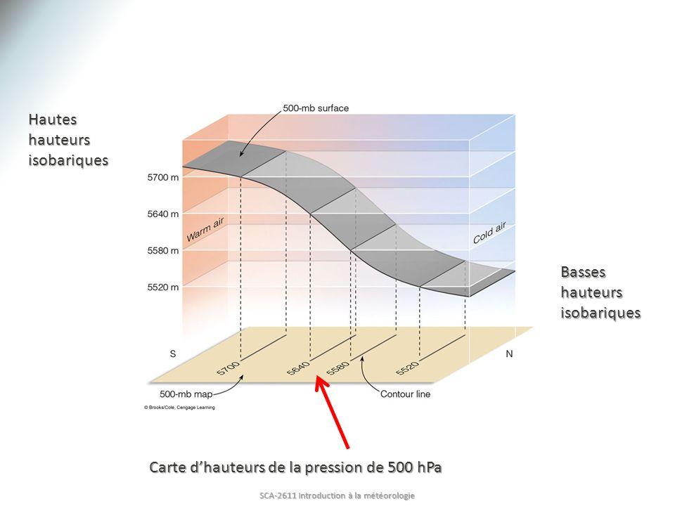 Hautes hauteurs isobariques Basses hauteurs isobariques Carte dhauteurs de la pression de 500 hPa SCA-2611 Introduction à la météorologie
