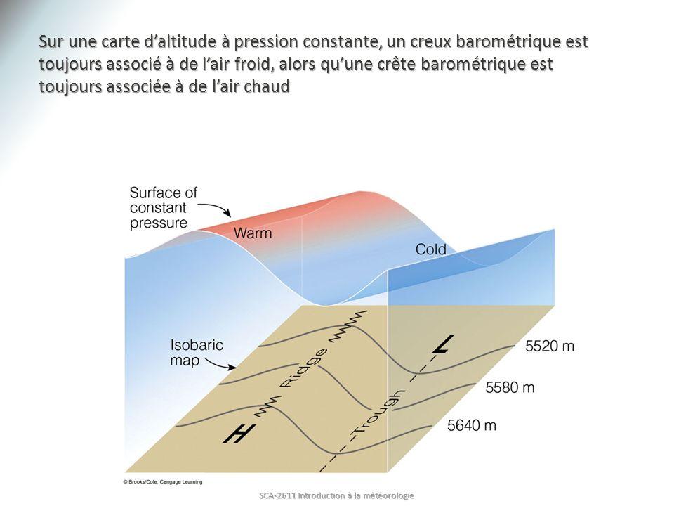 Sur une carte daltitude à pression constante, un creux barométrique est toujours associé à de lair froid, alors quune crête barométrique est toujours associée à de lair chaud SCA-2611 Introduction à la météorologie