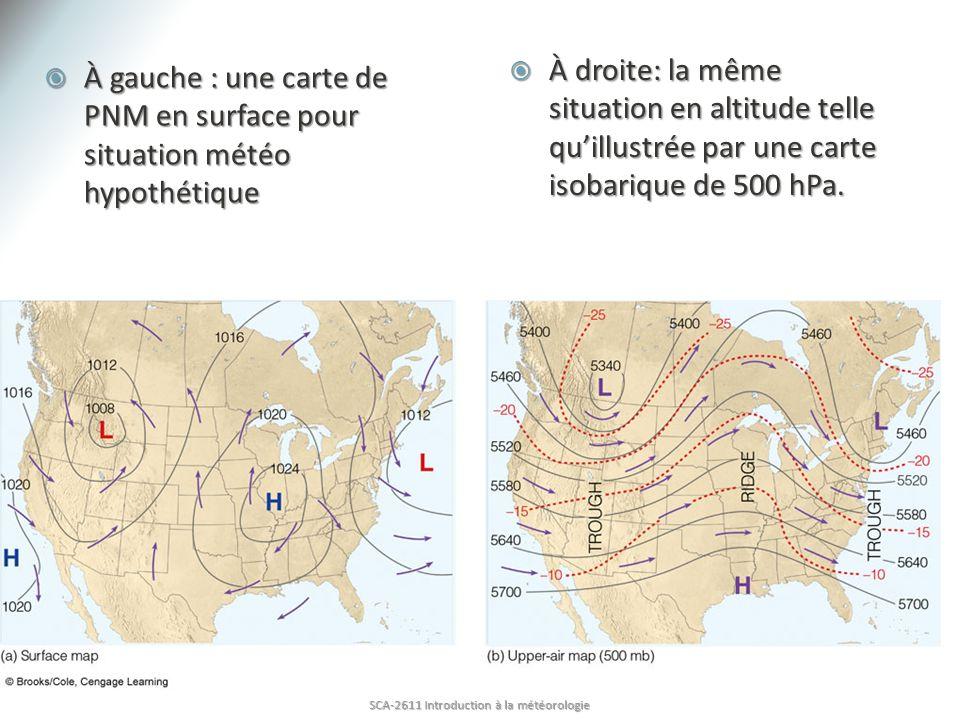 À gauche : une carte de PNM en surface pour situation météo hypothétique À gauche : une carte de PNM en surface pour situation météo hypothétique À dr