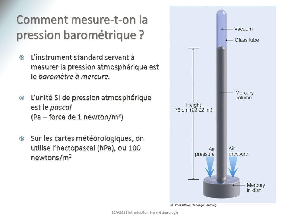 Comment mesure-t-on la pression barométrique ? Linstrument standard servant à mesurer la pression atmosphérique est le baromètre à mercure. Linstrumen