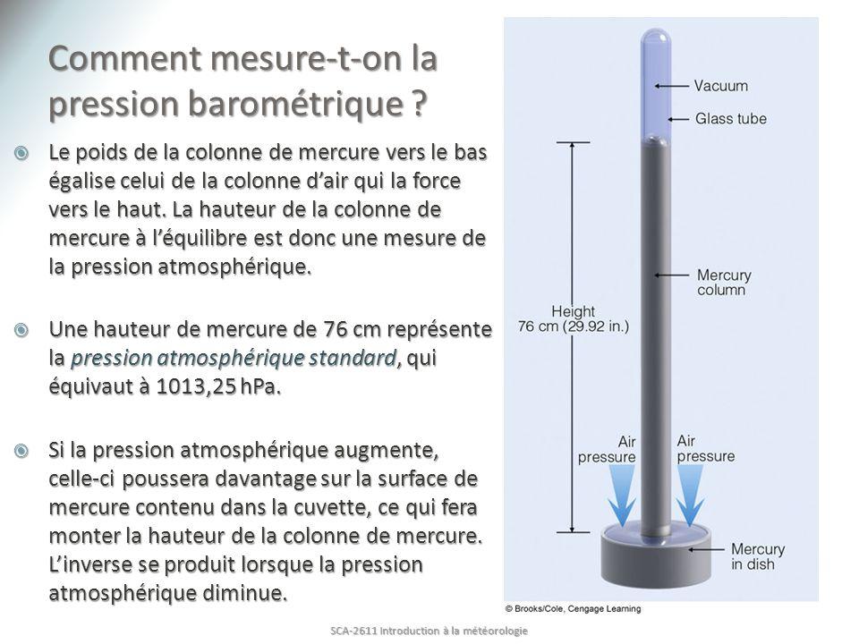 Comment mesure-t-on la pression barométrique ? Le poids de la colonne de mercure vers le bas égalise celui de la colonne dair qui la force vers le hau