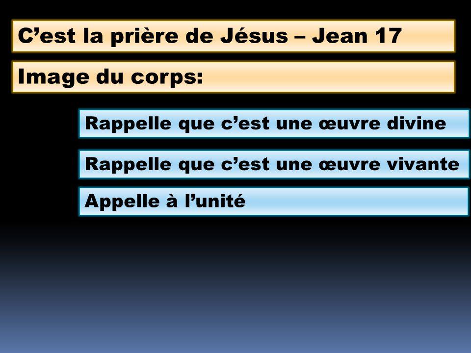 Cest la prière de Jésus – Jean 17 Image du corps: Rappelle que cest une œuvre divine Rappelle que cest une œuvre vivante Appelle à lunité