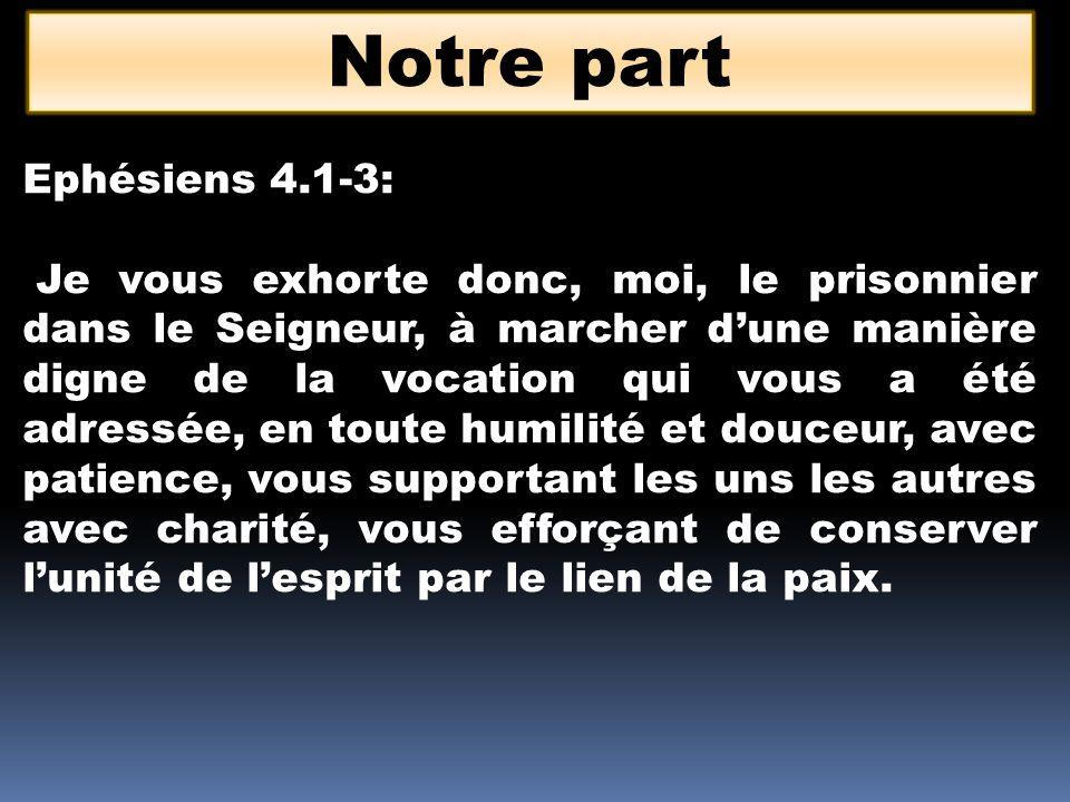 Notre part Ephésiens 4.1-3: Je vous exhorte donc, moi, le prisonnier dans le Seigneur, à marcher dune manière digne de la vocation qui vous a été adressée, en toute humilité et douceur, avec patience, vous supportant les uns les autres avec charité, vous efforçant de conserver lunité de lesprit par le lien de la paix.