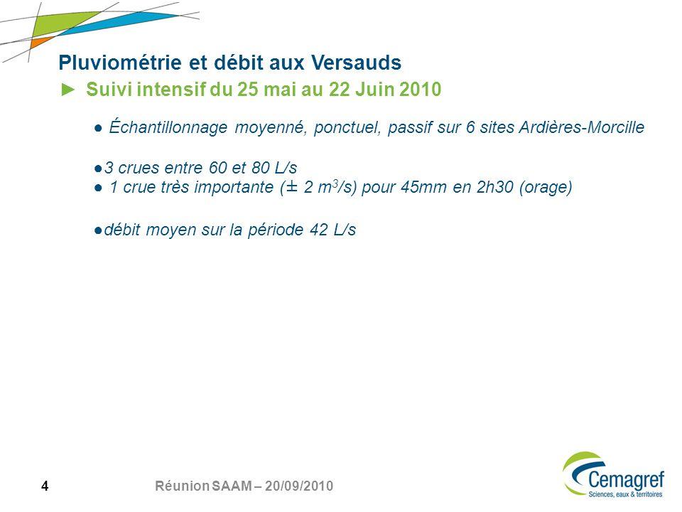 4 Réunion SAAM – 20/09/2010 Pluviométrie et débit aux Versauds Suivi intensif du 25 mai au 22 Juin 2010 Échantillonnage moyenné, ponctuel, passif sur 6 sites Ardières-Morcille 3 crues entre 60 et 80 L/s 1 crue très importante (± 2 m 3 /s) pour 45mm en 2h30 (orage) débit moyen sur la période 42 L/s