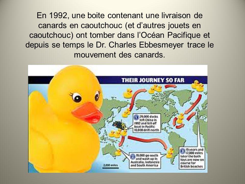 http://followthecontainer.com/wp-content/uploads/2008/11/ocean-debris-friendly_floatees.png Cette carte illustre le mouvements des canards depuis 1992.
