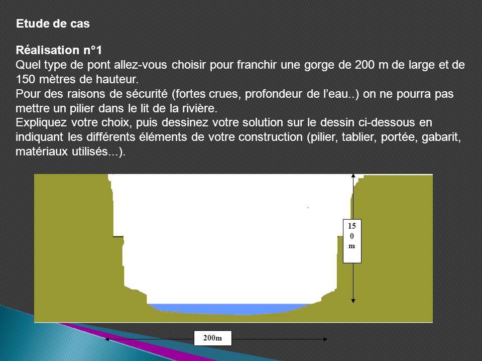 Réalisation n°1 Quel type de pont allez-vous choisir pour franchir une gorge de 200 m de large et de 150 mètres de hauteur. Pour des raisons de sécuri