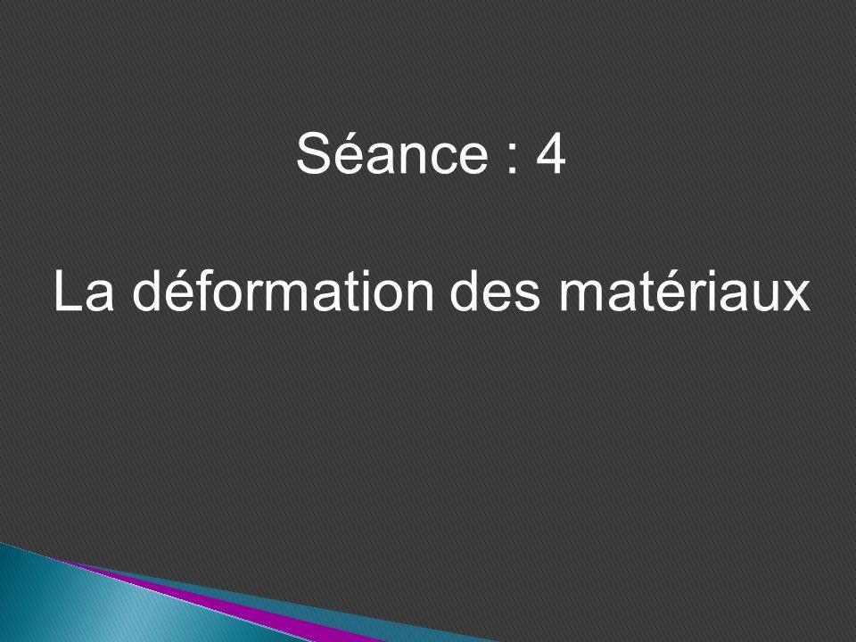 Séance : 4 La déformation des matériaux