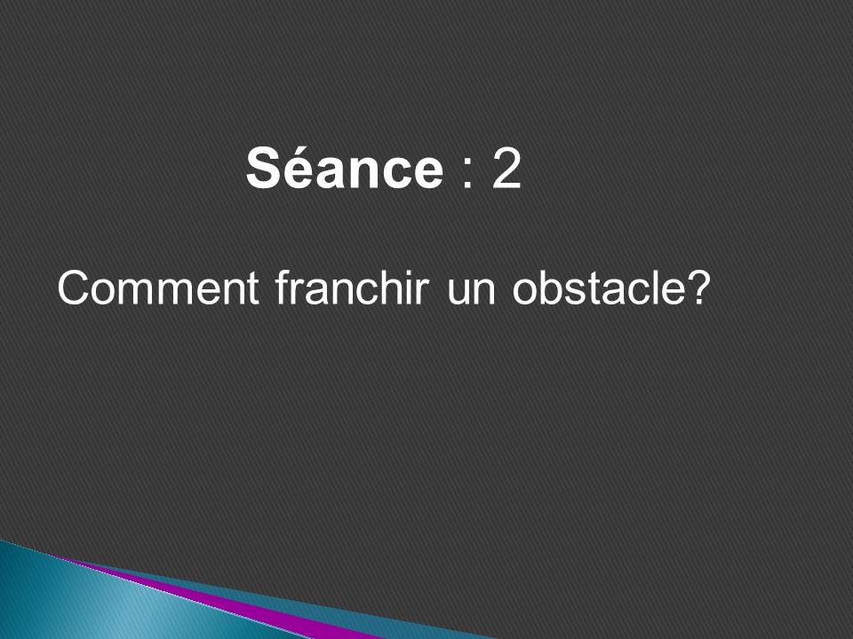 Séance : 2 Comment franchir un obstacle?