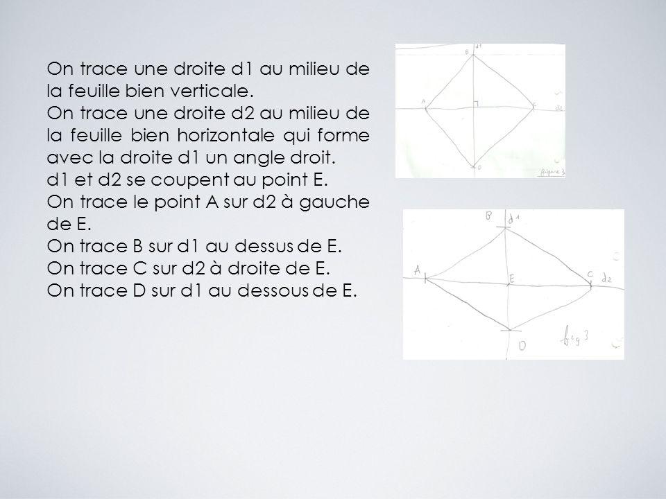 On trace une droite d1 au milieu de la feuille bien verticale. On trace une droite d2 au milieu de la feuille bien horizontale qui forme avec la droit