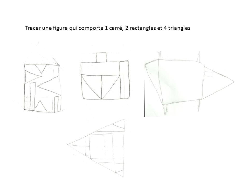 Tracer une figure qui comporte 1 carré, 2 rectangles et 4 triangles