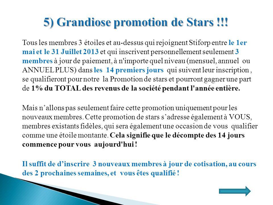 Tous les membres 3 étoiles et au-dessus qui rejoignent Stiforp entre le 1er mai et le 31 Juillet 2013 et qui inscrivent personnellement seulement 3 me