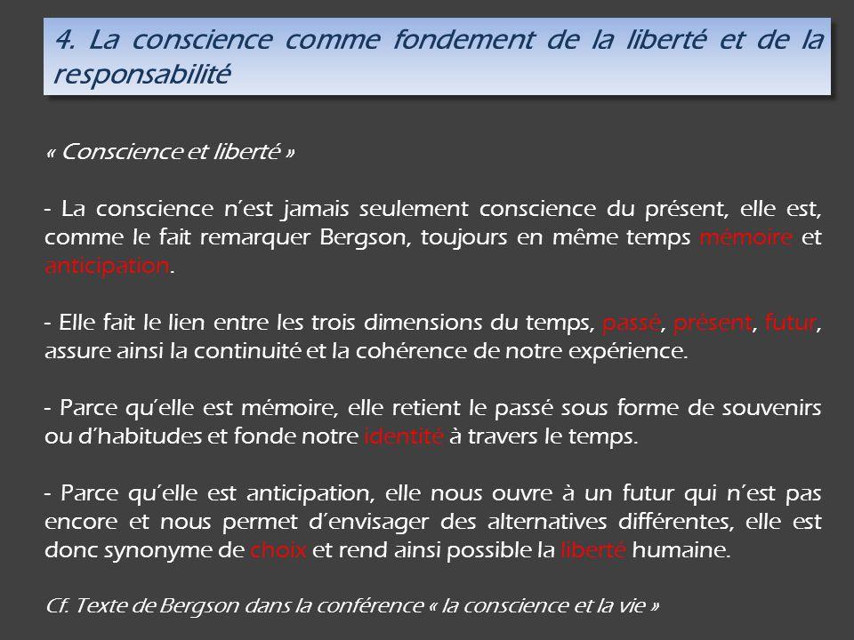 4. La conscience comme fondement de la liberté et de la responsabilité « Conscience et liberté » - La conscience nest jamais seulement conscience du p
