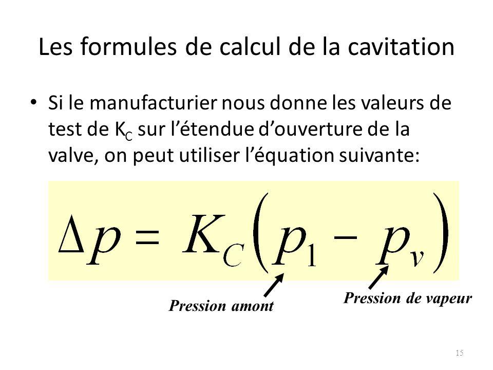 Les formules de calcul de la cavitation Si le manufacturier nous donne les valeurs de test de K C sur létendue douverture de la valve, on peut utilise