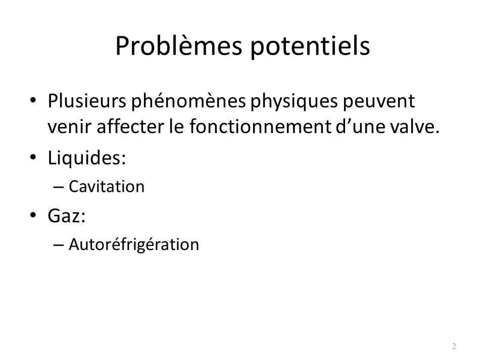 Problèmes potentiels Plusieurs phénomènes physiques peuvent venir affecter le fonctionnement dune valve. Liquides: – Cavitation Gaz: – Autoréfrigérati