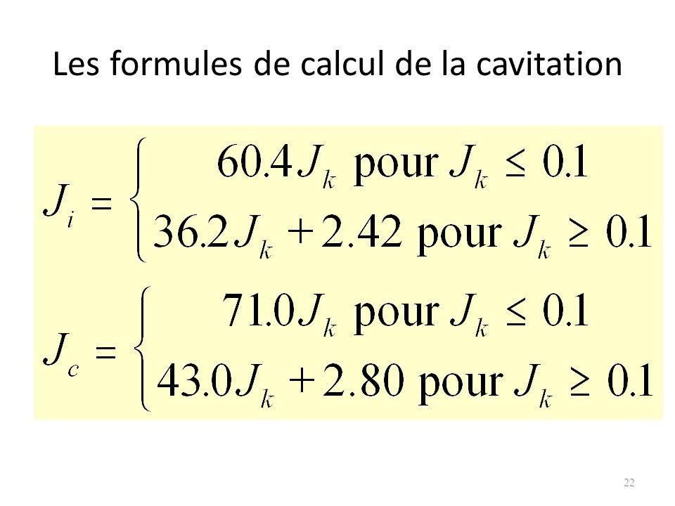 Les formules de calcul de la cavitation 22