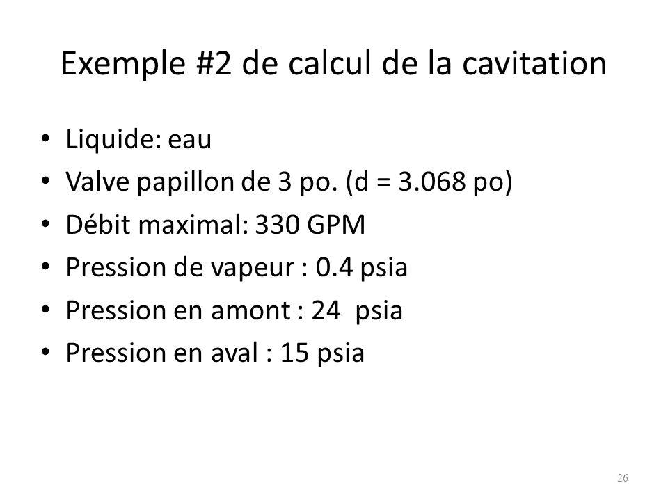 Exemple #2 de calcul de la cavitation Liquide: eau Valve papillon de 3 po. (d = 3.068 po) Débit maximal: 330 GPM Pression de vapeur : 0.4 psia Pressio