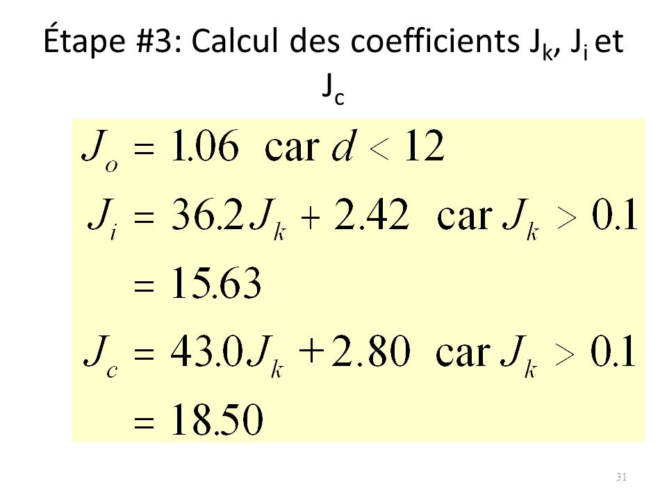 Étape #3: Calcul des coefficients J k, J i et J c 31