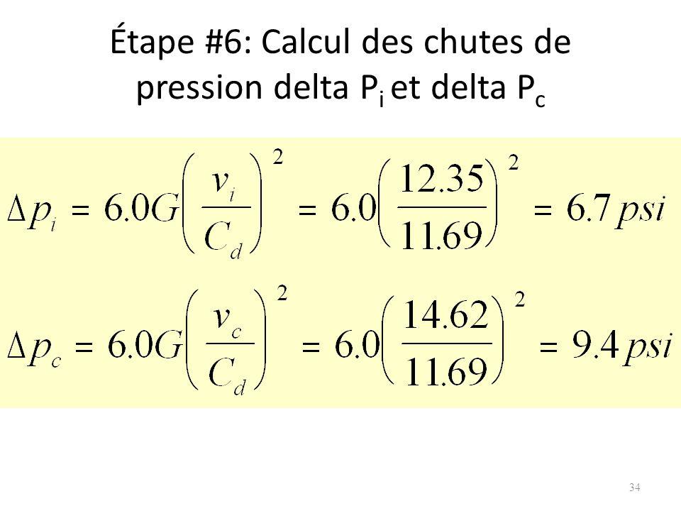 Étape #6: Calcul des chutes de pression delta P i et delta P c 34