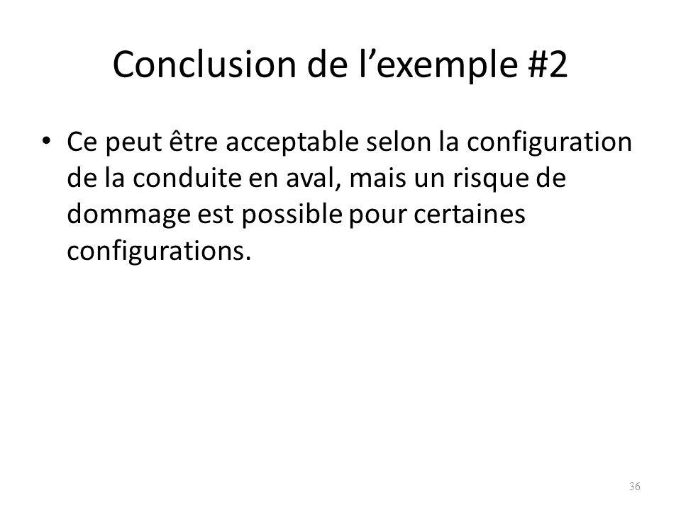 Conclusion de lexemple #2 Ce peut être acceptable selon la configuration de la conduite en aval, mais un risque de dommage est possible pour certaines
