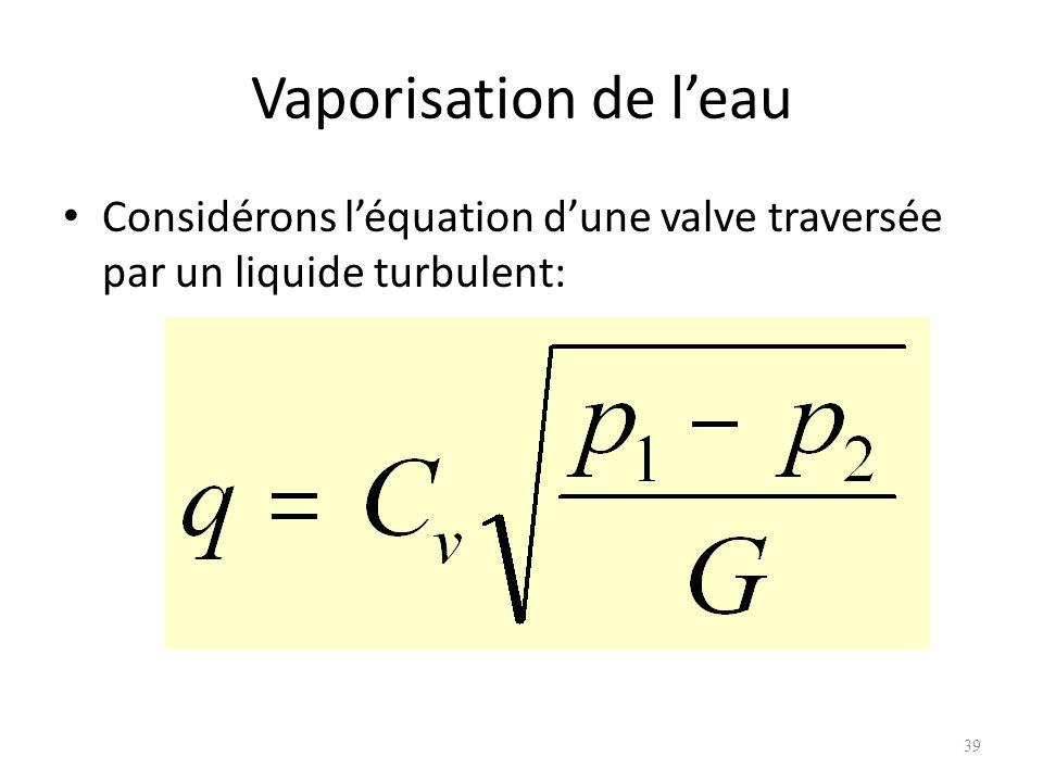 Vaporisation de leau Considérons léquation dune valve traversée par un liquide turbulent: 39