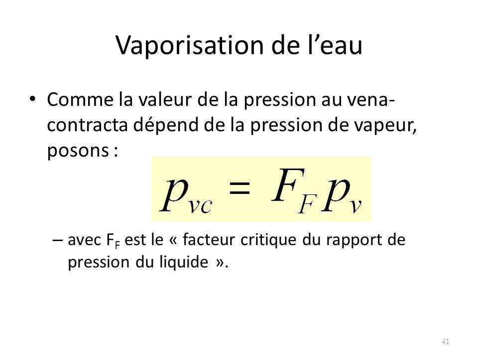Vaporisation de leau Comme la valeur de la pression au vena- contracta dépend de la pression de vapeur, posons : – avec F F est le « facteur critique