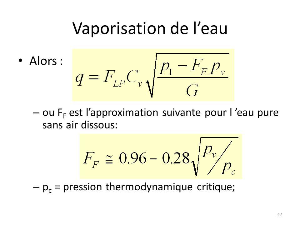 Vaporisation de leau Alors : – ou F F est lapproximation suivante pour l eau pure sans air dissous: – p c = pression thermodynamique critique; 42