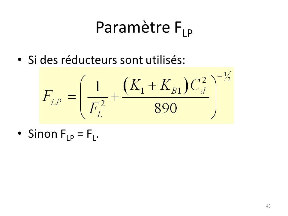 Paramètre F LP Si des réducteurs sont utilisés: Sinon F LP = F L. 43
