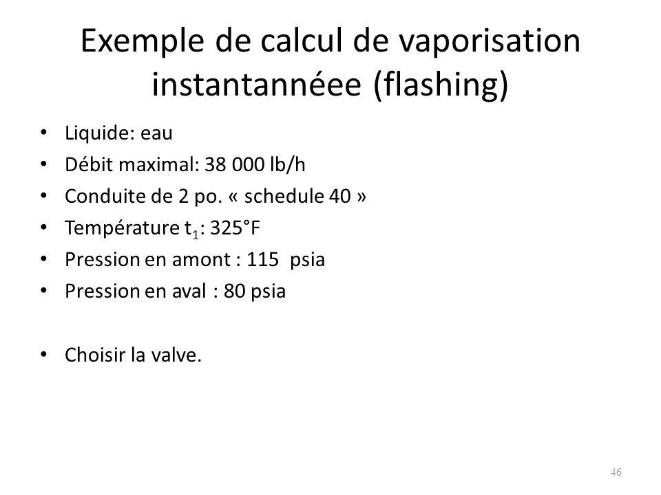 Exemple de calcul de vaporisation instantannéee (flashing) Liquide: eau Débit maximal: 38 000 lb/h Conduite de 2 po. « schedule 40 » Température t 1 :